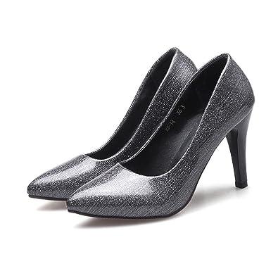 DIMAOL Chaussures Pour Femmes PU Printemps Automne Talons Talon Confort Décontracté Pour Rouge Noir,Black,US6.5-7/EU37/UK4,5-5/CN37