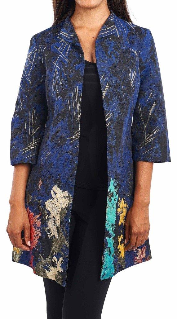 Joseph Ribkoff Multicoloured Metallic Accent Coat Style 164682 - Size 6