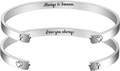 BFJLIFE Inspirational Bracelets for Women Girls Gifts for Family Friend Personalized Motivational Mantra Engraved 316L Stainless Steel Jewelry