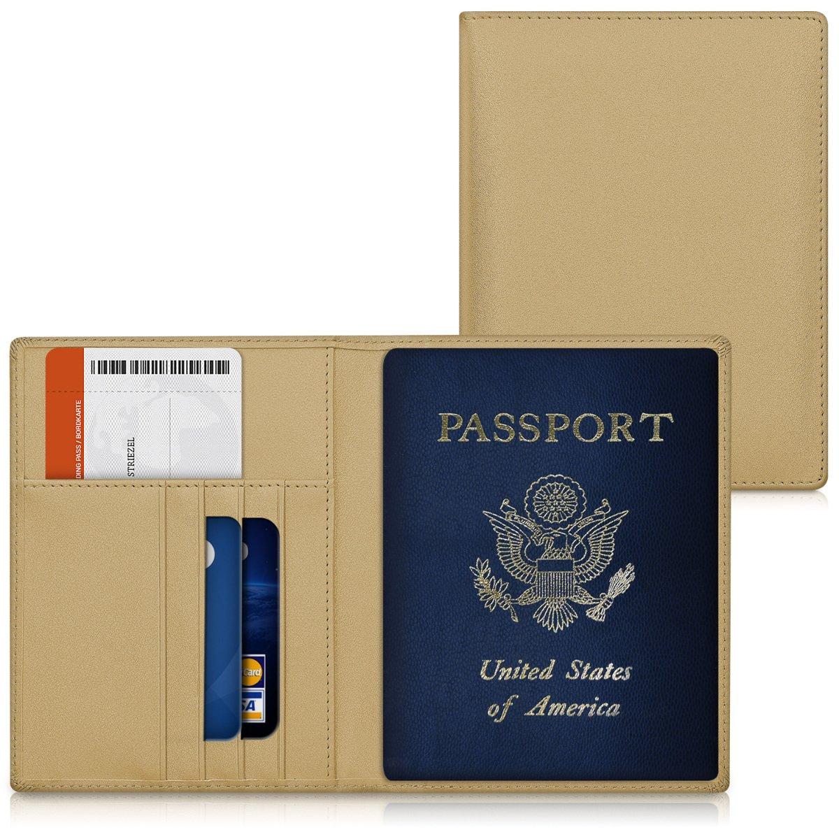 avec Emplacement Carte Bleue kwmobile Porte-Passeport avec Compartiments Cartes /Étui de Protection Simili Cuir Bleu fonc/é Portefeuille Passeport