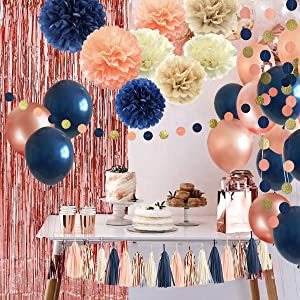 32 Pack Navy Blue Rose Gold Party Decoration Kit - Navy Rose Gold Balloons, Curtains, Paper Flowers,Tassel and Garland for Bridal Shower, Baby Shower, Gender Reveal, Graduation, Rose Gold Bachelorette Party Decorations