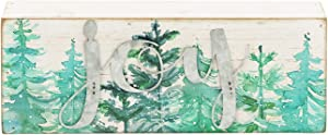 Christmas Tree Printing Wood Box Sign | Mini Rustic Xmas Tabletop Decorations with Galvanized Metal Cutting Letters-Joy