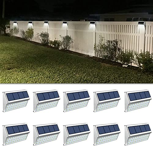 ROSHWEY Solar Deck Lights Outdoor 30 LED Stainless Steel Step Lamps Waterproof Security Lights for Stairs Fence Pathway Wall Save Electricity and Money Pack of 10, Cool White Light