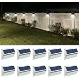 ROSHWEY Deck Lights Outdoor 10 Pack 30 LED Stainless Steel Fence Post Solar Lamps Waterproof Step Lighting for Walkway Stairs