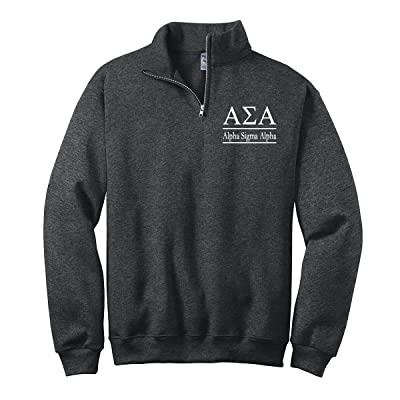 Alpha Sigma Alpha Quarter Zip Pullover Sweatshirt at Men's Clothing store