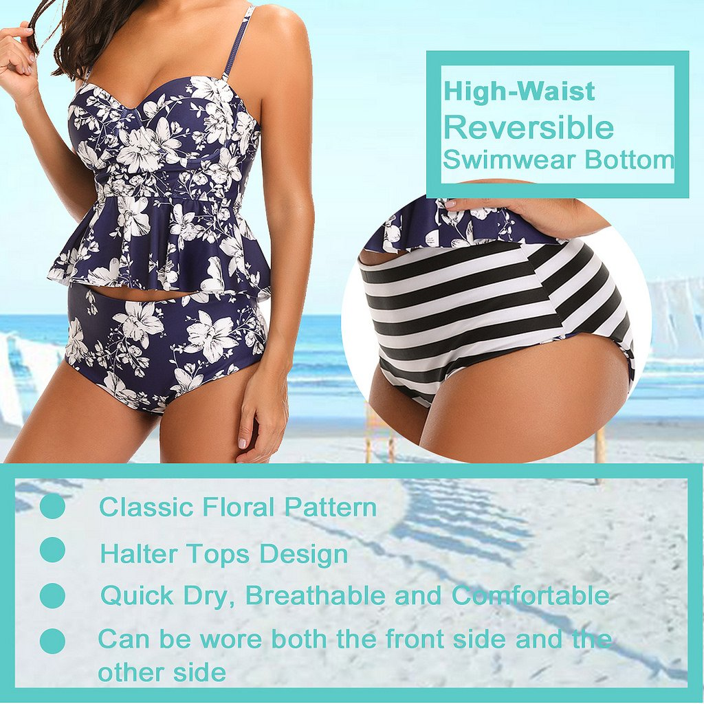 d48c5f12c9ba8 Amazon.com: SESY High Waisted Tankini Swimsuits Bathing Suit Floral Printed  Swimwear with Briefs for Women Violet: Clothing