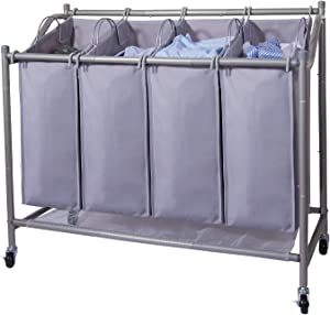 Ollieroo Laundry Sorter Cart 4-Bag Classics Rolling Laundry Hamper, Sturdy Frame with 60KG Weight Capacity, Gray