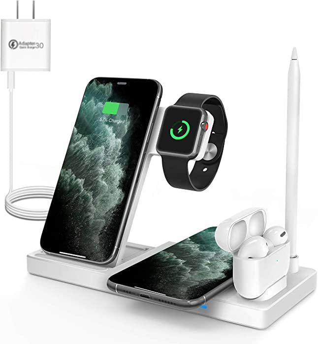 WAITIEE Updated Version,Wireless Charger 5 in 1,Qi Wireless Charging Station for iWatch 6/5/4/3/2/1& AirPods3/2/1 & Pencil & iPhone 12/11/11 Pro Max/XR/XS Max/Xs/X/8/8P White(No iWatch Charging Cable)
