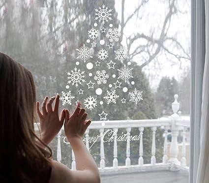 Tuopuda® Natale Vetrofanie Display Rimovibile Adesivi Murali Fai Da Te  Finestra Decorazione Vetrina Wallpaper Fiocco