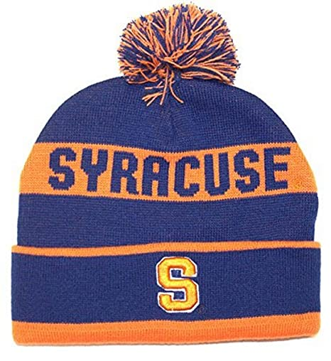 7898c16ac57 Image Unavailable. Image not available for. Color  NCAA Officially Licensed Syracuse  Orange Team Name Blue Cuffed Pom Beanie Hat ...