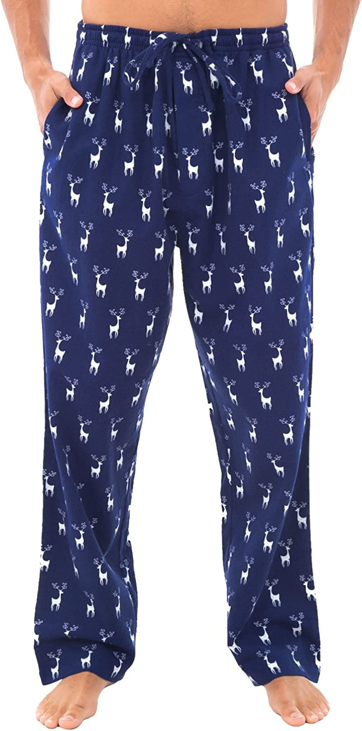 Alexander Del Rossa Men's Lightweight Flannel Pajama Pants, Long Printed Cotton Pj Bottoms