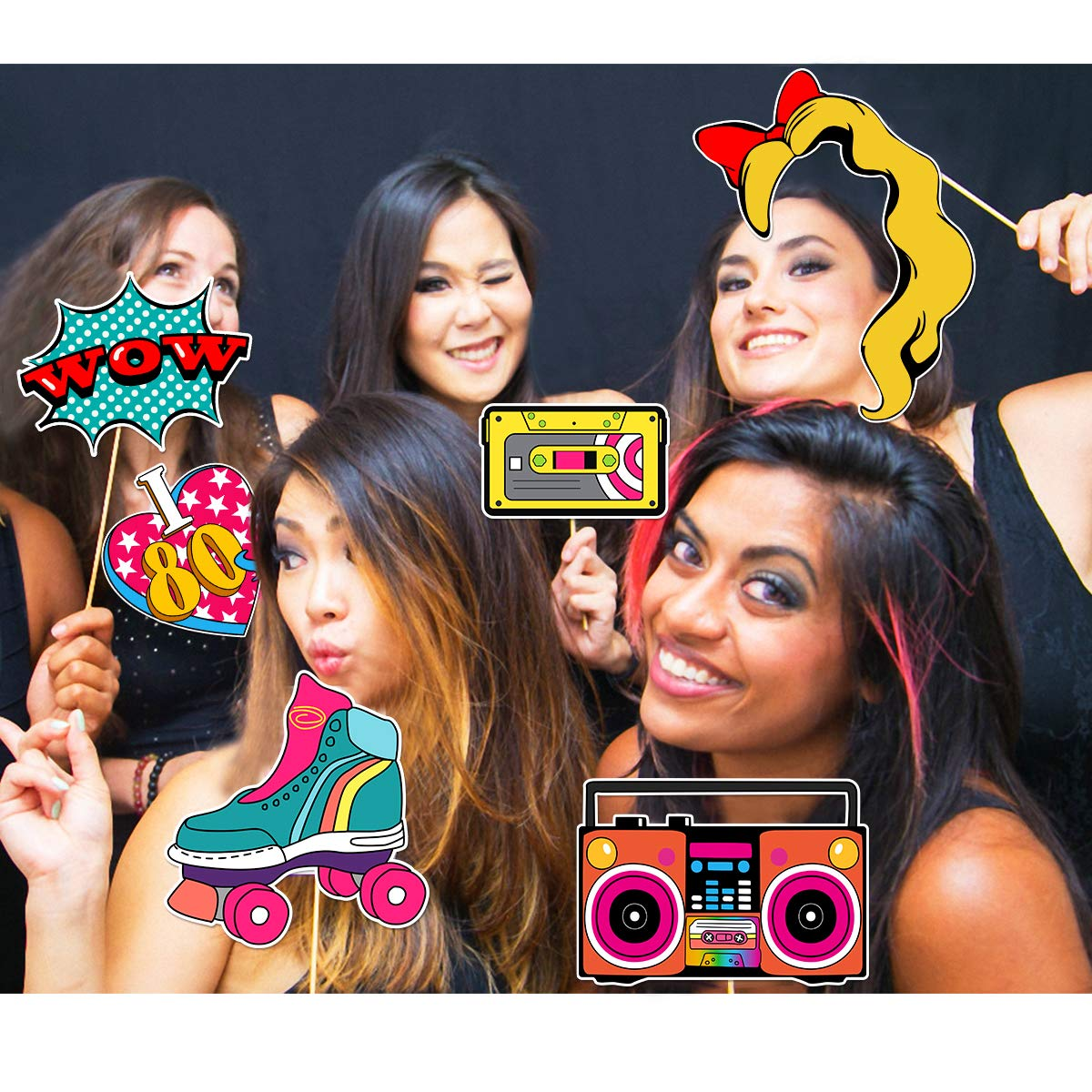 PRETYZOOM 80s Retro Party Photo Booth Props Birthday Party Decoration Accessories DIY Creative Party Supplies with Wooden Sticks Party Pose Sign 21PCS Four Colors Printed