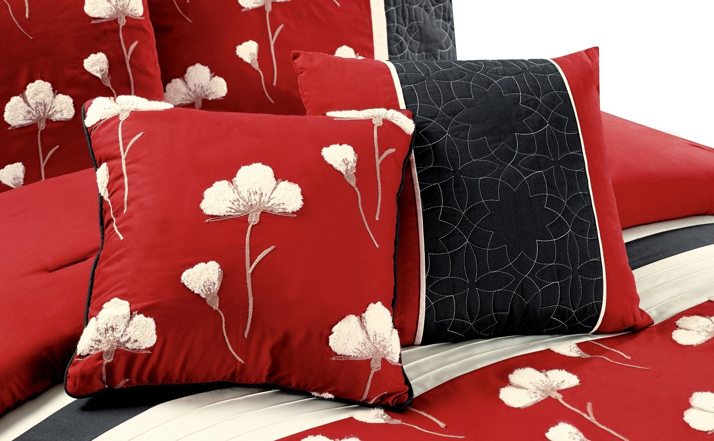 Chenille Poppy Flowers Pleated Embroidery Floral Bedding Comforter Set Full, Burgundy Red