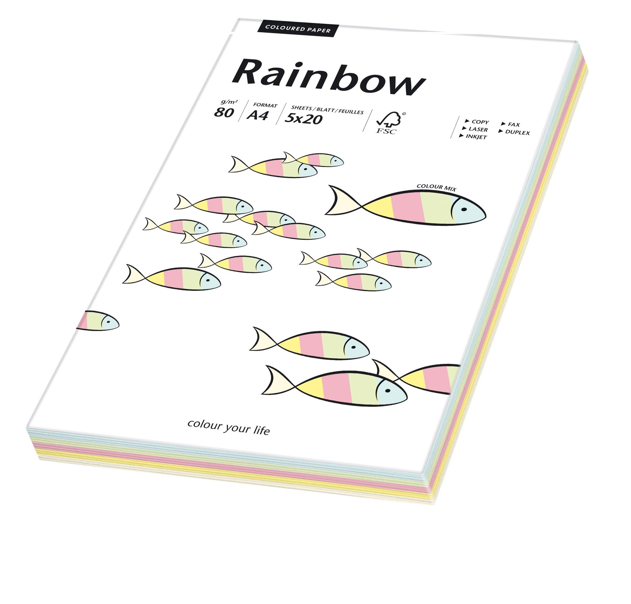 Papyrus 88043187 Drucker  Kopierpapier Bastelpapier Rainbow  80 G M² A4 100 Blatt Mixed Pastell  Rot Orange Gelb Blau Grün