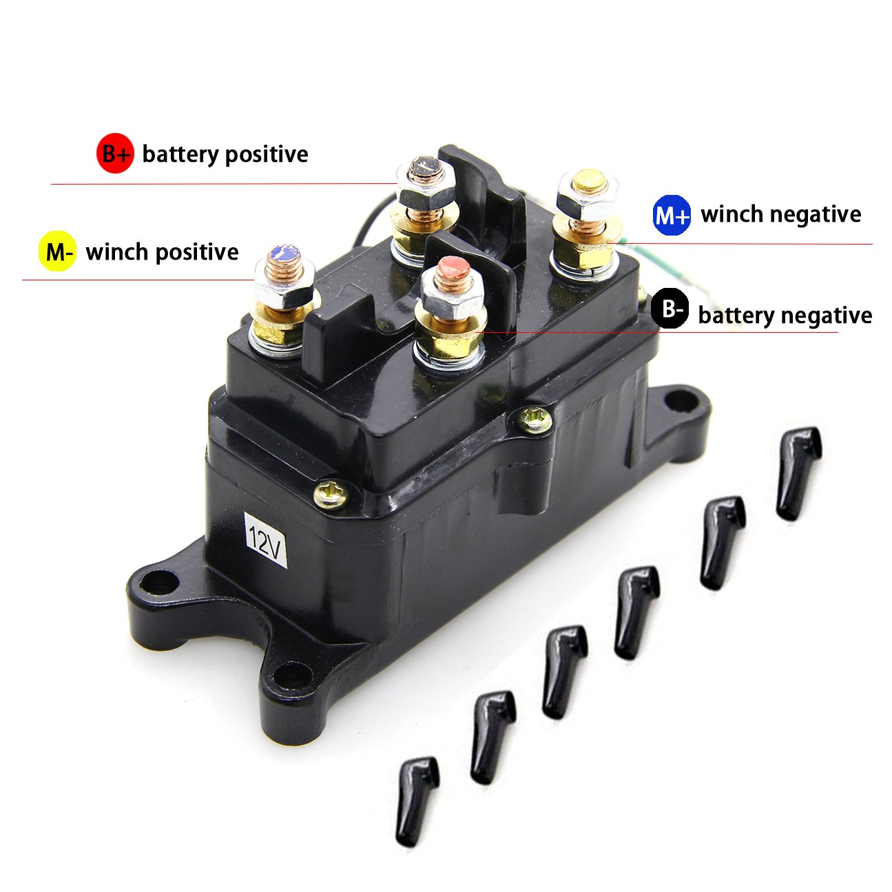 KONDUONE 12V 250A Winch Solenoid Relay Contactor Thumb Truck with 6 Protecting Caps for 4x4 Vehicles UTV ATV Winch Solenoid by Konduone