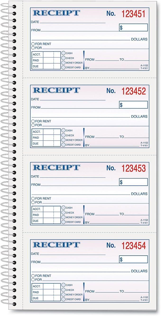 Crbnls 5in.x2-.75in. 2-Part Tops Business Forms TOP4161 Money-Rent Receipt Book 200-BK