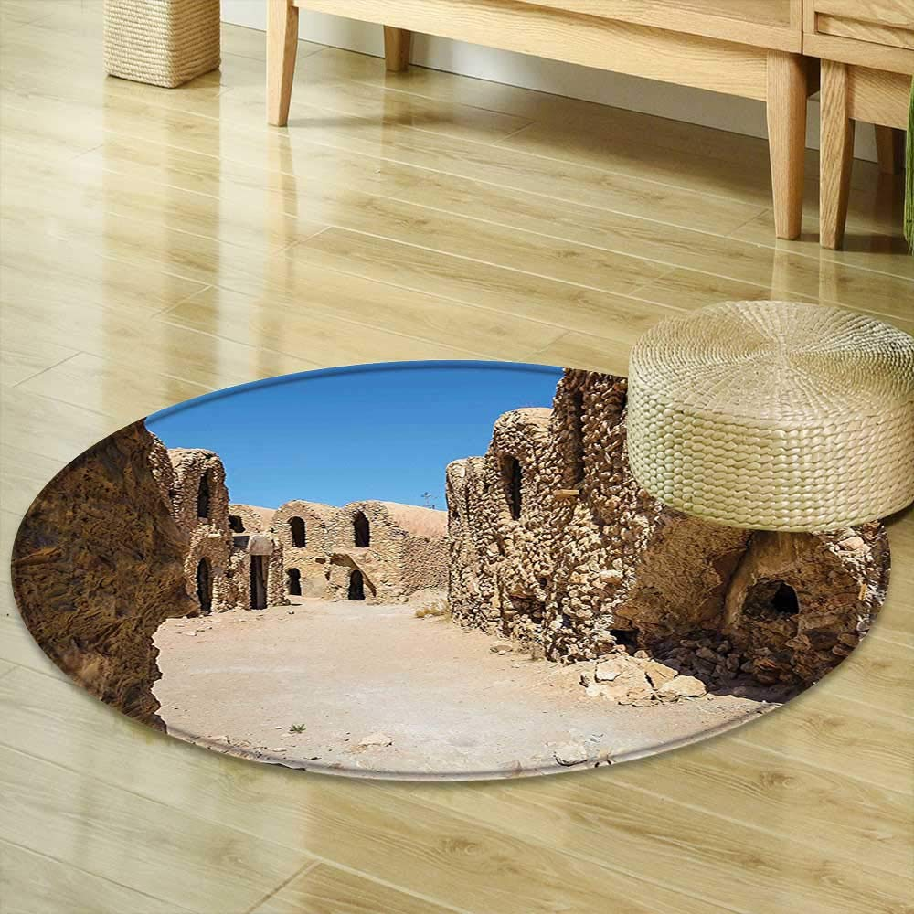 Mikihome Small Round Rug Carpet Galaxy One of Abandoned Sets of The Movie in Tunisia Desert Phantom Galaxy Wars Themed Brown Blue Door mat Indoors Bathroom Mats Non Slip R-35