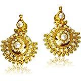 Surat Diamonds Freshwater Pearl & Gold Plated Temple Design Earrings for Women (SE27)
