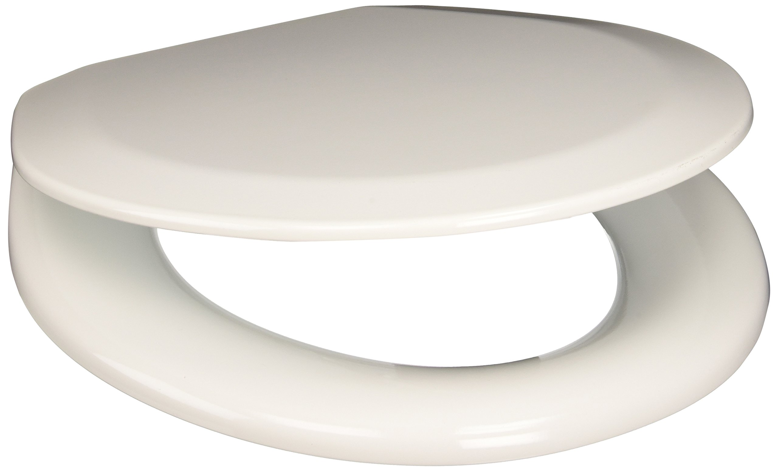 PlumbTech 113-04 Deluxe Molded Wood Round Toilet Seat with Adjustable Hinge, Cotton White