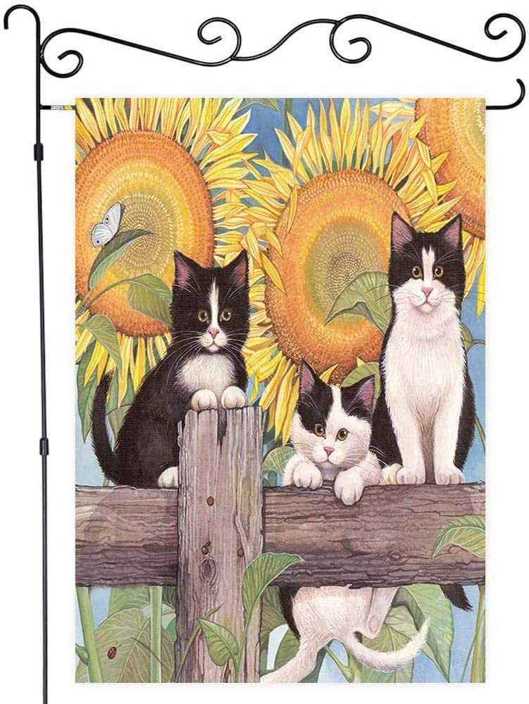 JAWO Cute Cat with Sunflower Garden Flag, Pet Animal Kitten on Rustic Wooden Fence with Flower Decor Garden Flag House Banners Yard Flag Outdoor Flags 12X18 Inches