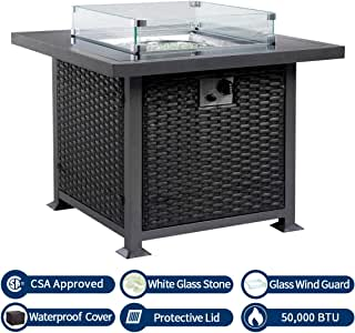 U-MAX 32in Outdoor Propane Gas Fire Pit Table, 50,000 BTU Auto-Ignition Gas Firepit with Glass Wind Guard, Black Tempered Glass Tabletop & Clear Glass Rock, Aluminum Frame&PE Rattan, CSA Certification