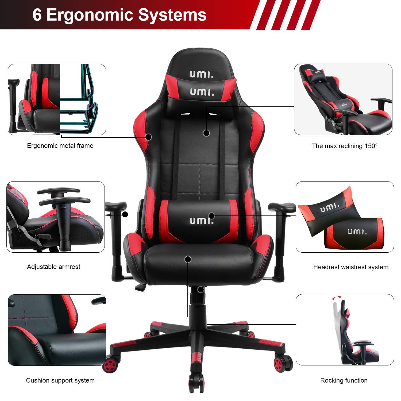 Essentials Silla Gaming, Silla Giratoria Ergonómica con Respaldo Alto, Reposacabezas y Soporte Lumbar: Amazon.es: Hogar