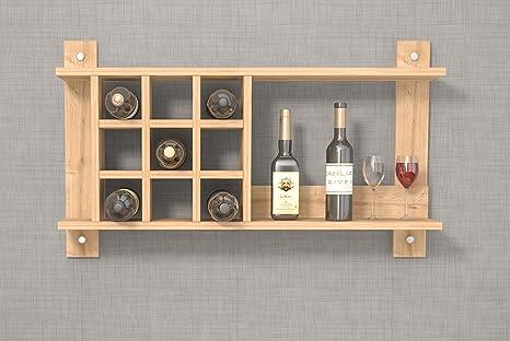 SHAN Portabottiglie da vino da parete in legno - Colore Rovere ...