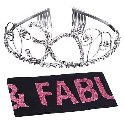 Nuobesty corona cumpleaños 30 años tiara cumpleaños sash ...