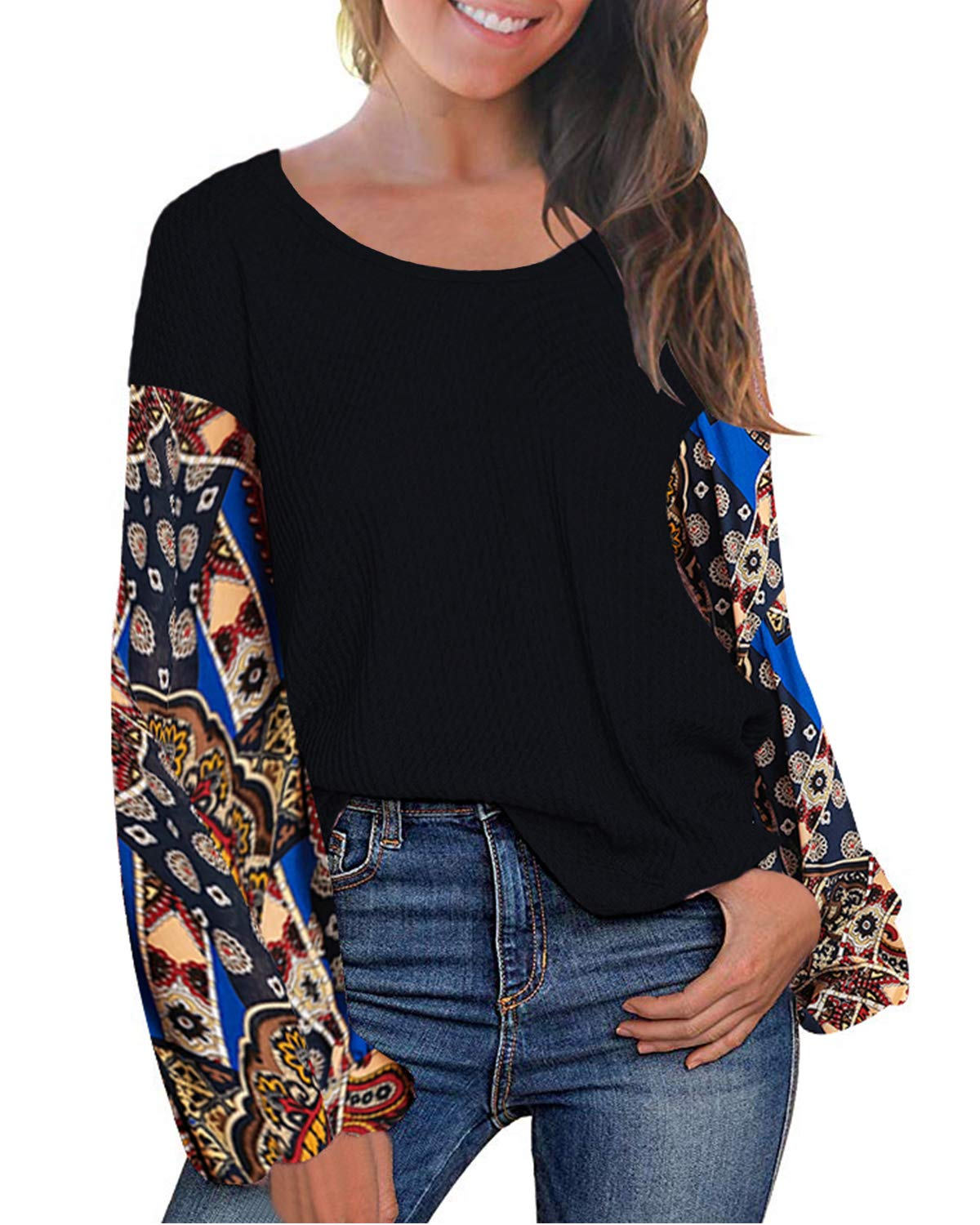 LeMarnia Boho Clothing for Women, Ladies Crewneck Puff Sleeve Patchwork Shirts Floral Print Casual Knit Tops Loose Pullover Sweatshirt Black S
