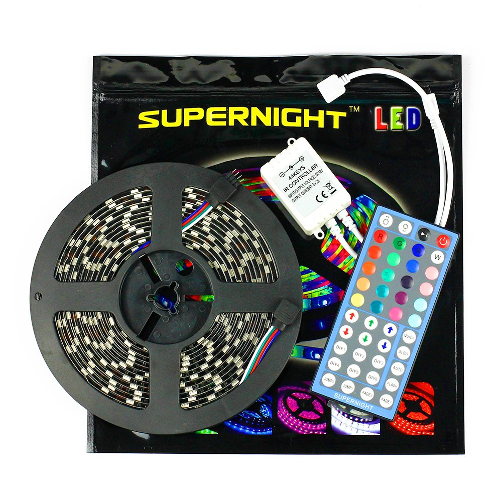 SUPERNIGHT 5050 Black PCB RGB Music LED Strip Light Kit 5M 300leds Waterproof LED Light Tape Kit with 44keys IR Remote Controller for Indoor Outdoor Decoration Lovely LED Gifts for Kids Birthday Backlighting(NO Power Supply Included)