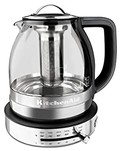 KitchenAid 605516-KEK1322SS Electric Glass Tea Kettle, 1.5 L, Stainless Steel