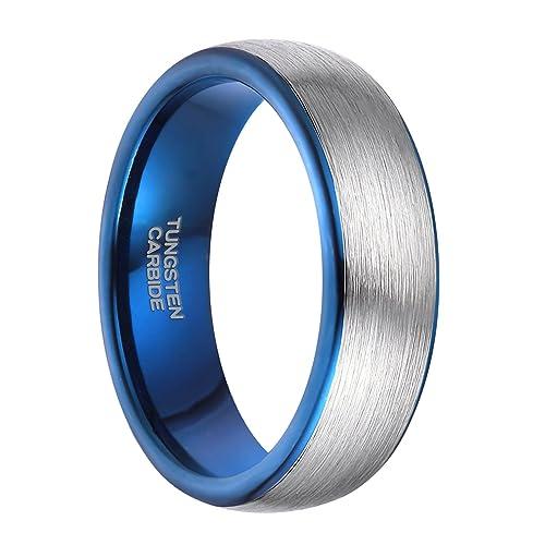 greenpod 6 mm tungsteno anillos de boda para hombres mujeres plata azul Dos Tonos cepillado estilo