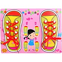 LittleHamlet Shoe Lace Tying Board Kids Wooden Puzzle Peg - Learn to Tie Your Shoelaces Educational Toy Pink for Girls