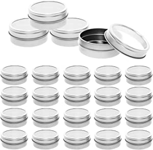 Mimi Pack 24 Pack Tins 1 oz Shallow Round Tins with Window Lids Empty Tins Containers Cosmetics Tins Party Favors Tins and Food Storage Containers (Silver)