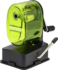 X-Acto 2012687-GRN Bulldog Vacuum Wall Mount Manual Pencil Sharpener, Green, See-through Receptacle, Affix to Any Nonporous Surface, X-ACTO Hardened Helical Cutter