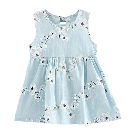 Children Dresses Kids Girl Sleeveless Flower Print Cotton And Linen Floral Dress Baby Girl Spring Summer Dresses For Girls Dresses