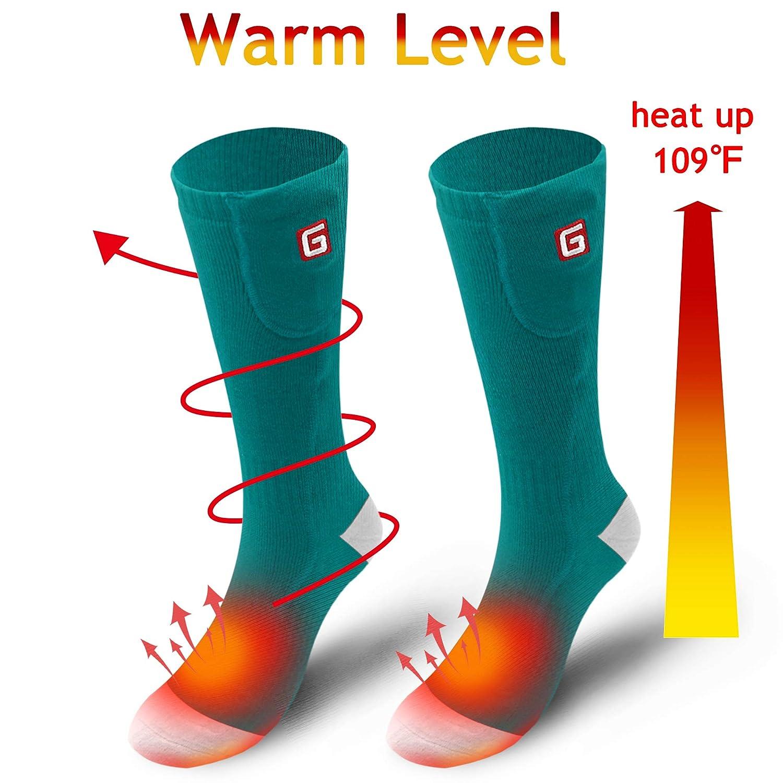 Svpro Paire de Chaussettes chauffantes électriques chauffantes à Piles pour Hommes et Femmes, pour Le Ski, la randonnée, l'escalade, Le Camping (Pile Non Incluse) M Green-W l' escalade SHENZHEN SVPRO TECHNOLOGY CO. LTD SV-2.4sock-GW-DE
