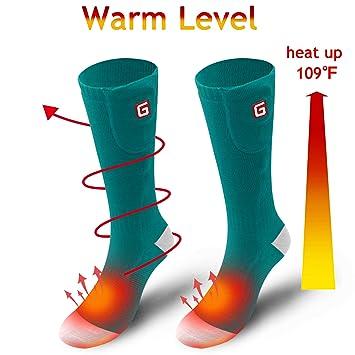 Svpro Batería térmica recargable Calcetines térmicos eléctricos. Batería para pies con frío crónico. Esquí de hombres y mujeres. Senderismo escalada.