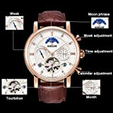 19585f59d BINSSAW Men Tourbillon Automatic Mechanical Watch Luxury Brand Leather  Fashion Casual Stainless Steel Sports Watches for Male