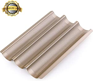 """Amagabeli Nonstick French Baguette Pans for Baking 15""""x11"""" Carbon Steel 3 Loaf Perforated Bread Tray Baguette Baking Tray Bake Mold Toast Cooking Oven Toaster Pan Cloche Waves Bakeware Golden"""