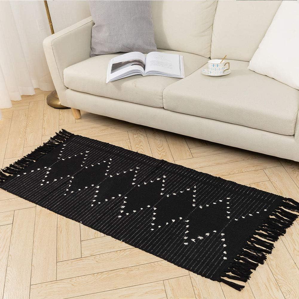Hand Woven Rug Runner, Boho Rug for Bedroom, Cotton Small Tassels Area Rug for Kitchen Laundry Bathroom Doorway, Black 2'x4.3'