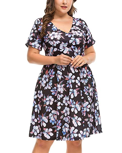 11642d849f1 Women s Plus Size Vintage Floral Print Surplice V Neck Short Sleeve Swing  Party Dress Blue Flower