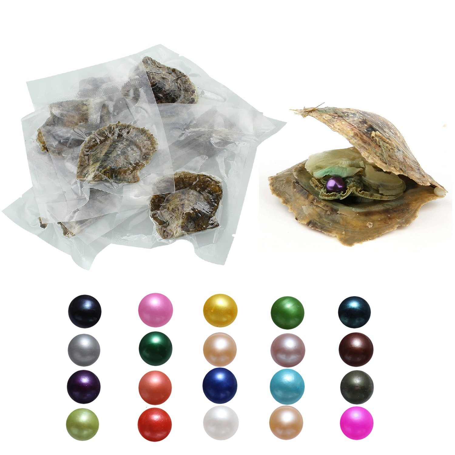 20PC Saltwater Akoya Pearls Oysters with 7-8mm Love Wish Pearl Inside 20 Mixed Colors, Jewelry Making or Birthday Gifts