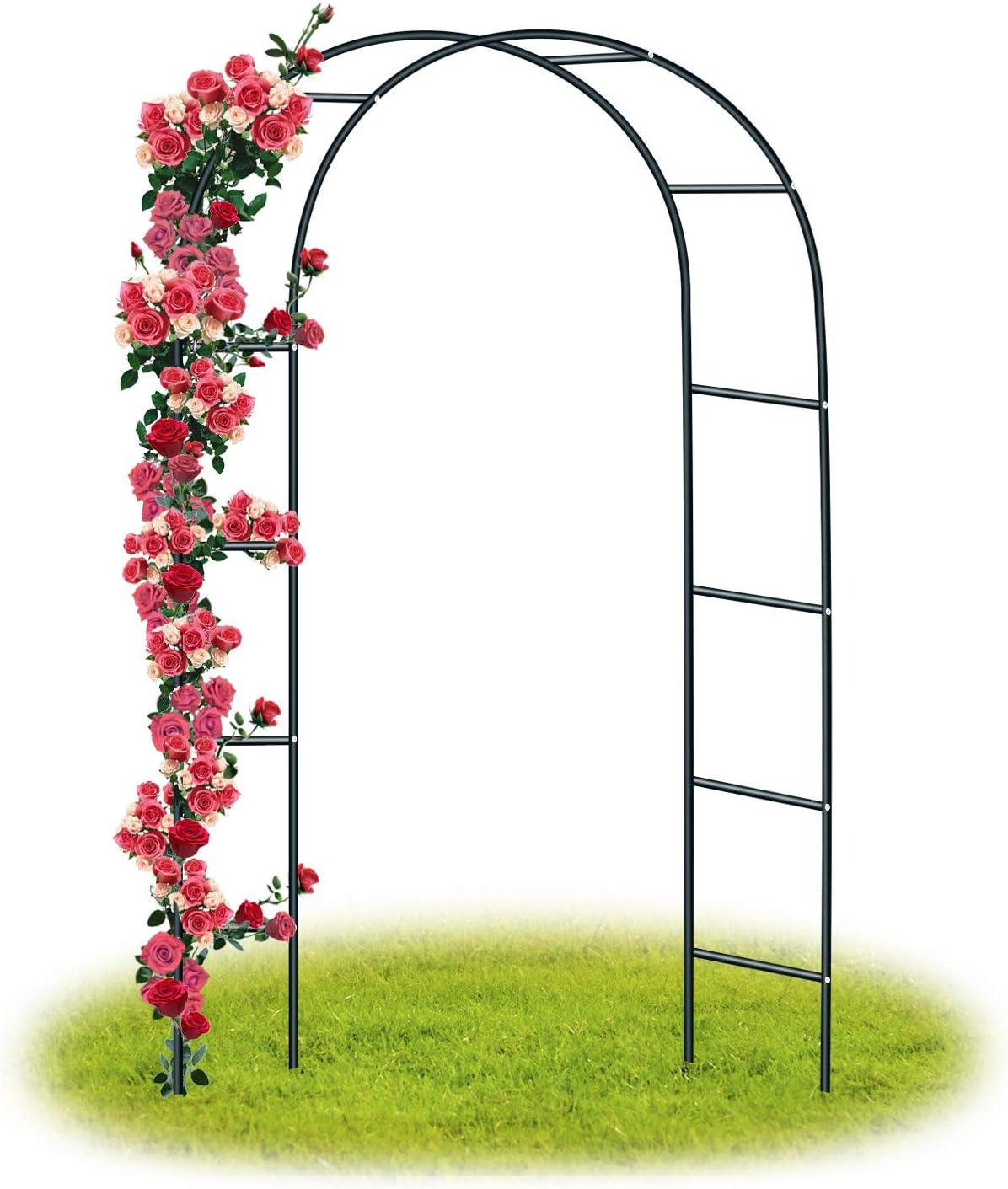 Forever Speed Arco de Rosas Trepadoras ,Decoracion Jardin Arco de Metal para Plantas Trepadoras 240 x 140 x 38 CM /Negro