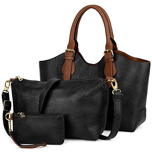 dfed0ed3ba37 Amazon.com  UTO Women Handbag Set 3 Pieces Bag PU Leather Tote Small Shoulder  Purse Bags Wallet Strap Black  Clothing