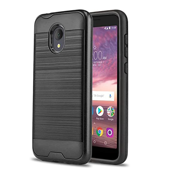 Phone Case for [ALCATEL TCL LX (A502DL)], [Protech Series][Black]  Shockproof Cover [Impact Resistant][Defender] for Alcatel TCL LX (Tracfone,  Simple