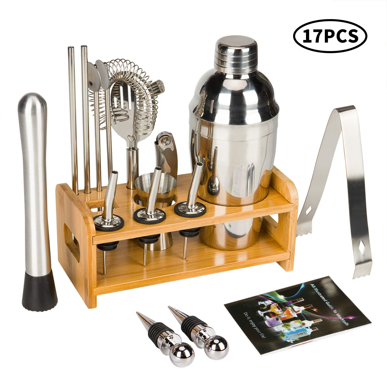 17 Piece Cocktail Shaker Set Bartender Kit for Drink Mixing -Bar Tools with Stand, Home Bartending Kit Stainless Steel Cobbler Shaker Set Boston Shaker Set by SHlotusS