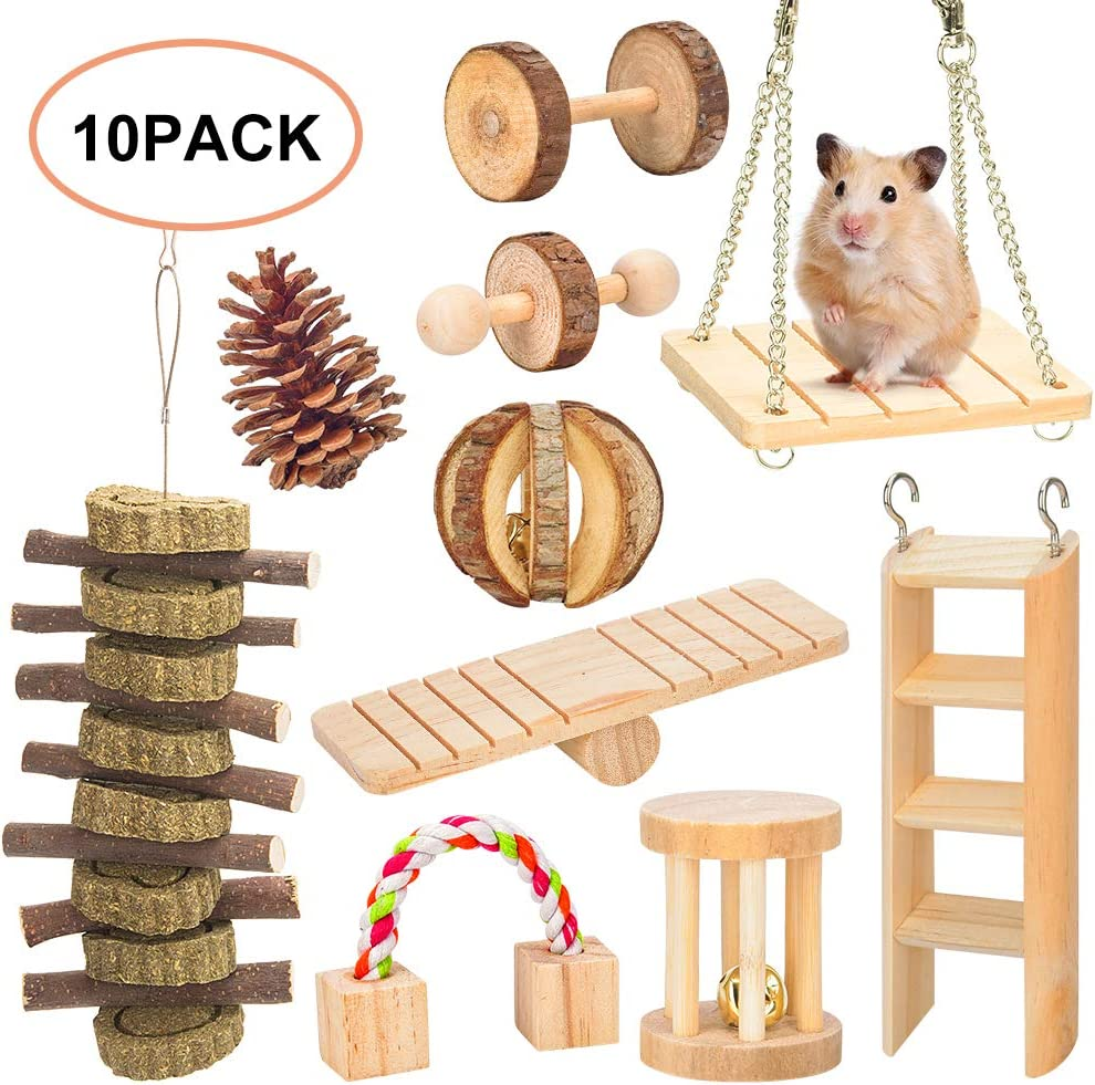 JEMPET Hamster Chew Toys,Natural Wooden Gerbils Rats Chinchillas Toys Accessories,Dumbbells Exercise Bell Roller Teeth Care Molar Toy for Guinea Pig Bunny Rabbits