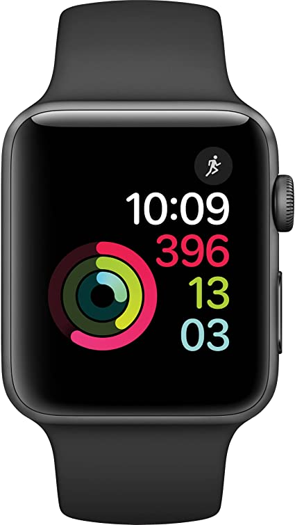 Apple Watch Series 2 Smartwatch 42mm Space Gray Aluminum Case Black Sport Band (Black Sport Band) (Renewed)