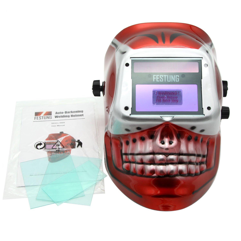 KOOLWOOM Solar Power Auto Darkening Adjustable Welding Helmet with 2 Arc Sensors & Shade Ranges 9-13 with Grinding Feature Extra lens covers Good for TIG MIG MMA Plasma (SKULL)